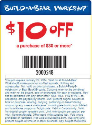 Free build a bear coupons