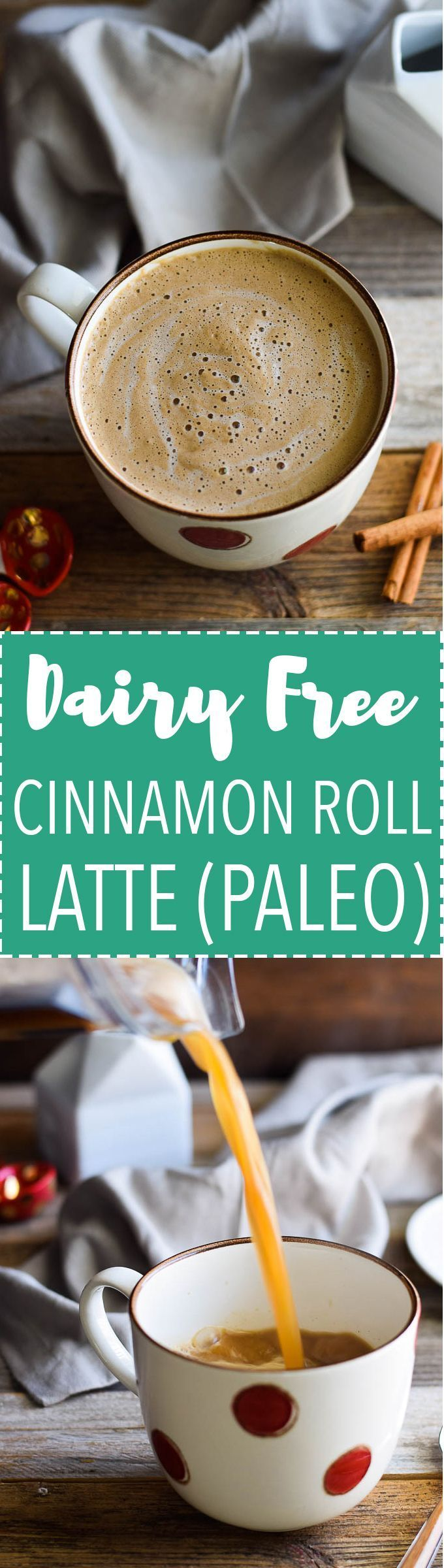 Healthy Cinnamon Roll Latte made with maple syrup and coconut milk! Dairy free, paleo.