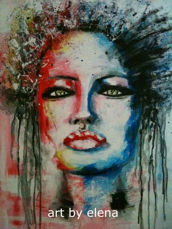 Acrylic painting SCARY.  Art by Elena N