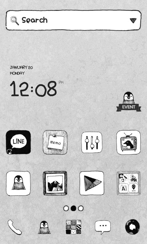 "[New Theme] ""Simple Penguin Gray by Dodol Launcher"" Check out the simple but cute penguin theme in gray!"