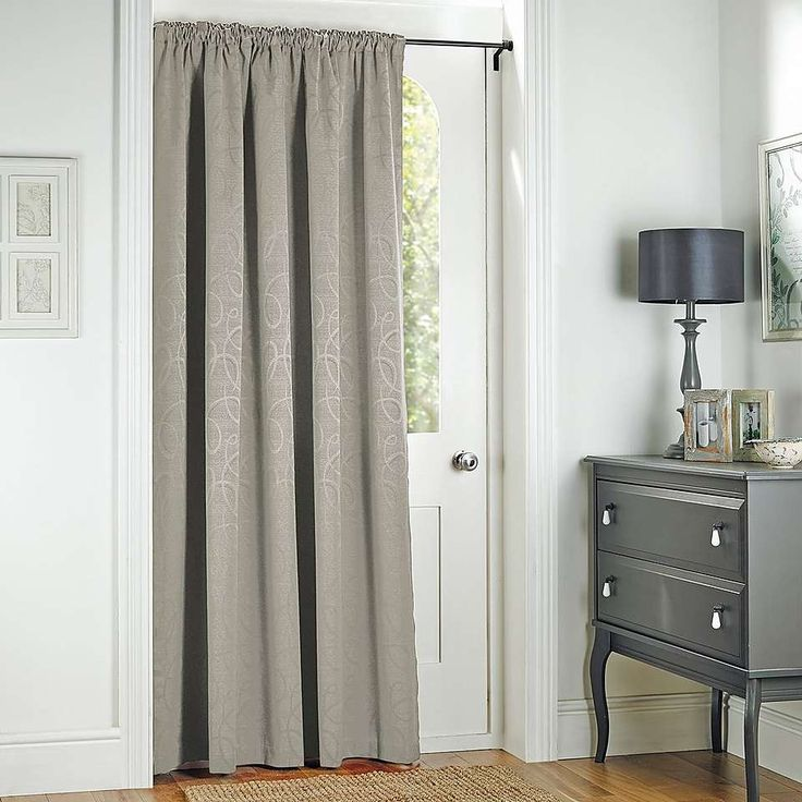 Toledo Silver Thermal Pencil Pleat Door Curtain | Dunelm