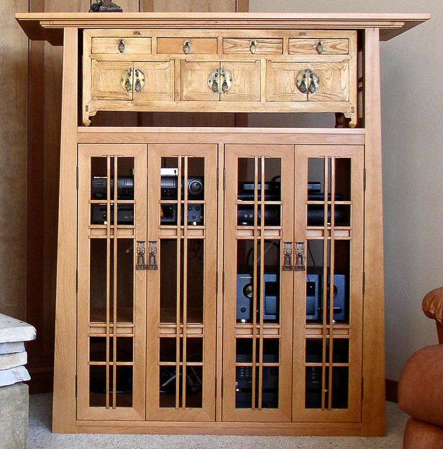 Captivating Arts And Crafts Style Beech Media Cabinet With Antique Oriental Chest By  William Heistand