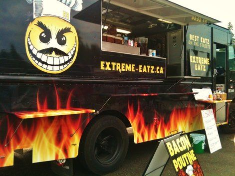 Extreme Eatz Food Truck in Parksville, Vancouver Island is all about the meat! Bacon Poutine for the win.