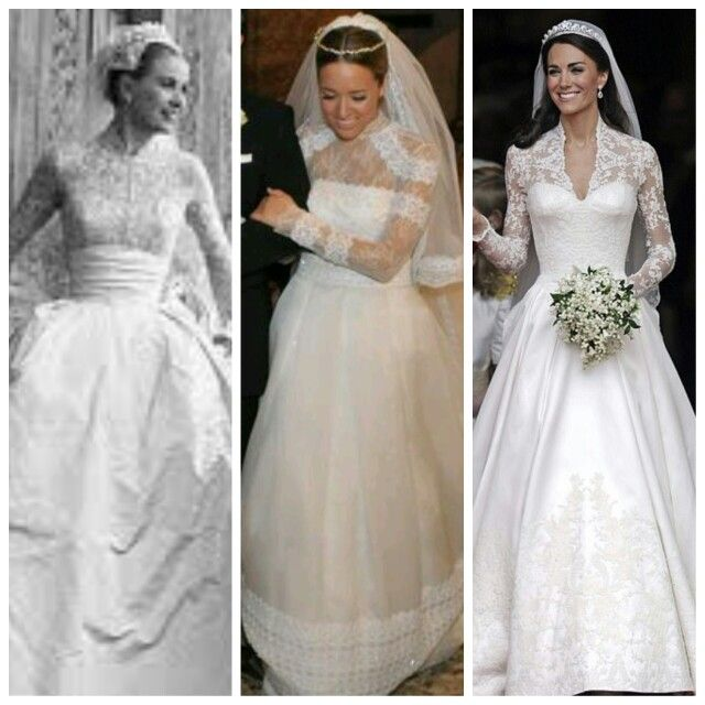 Timeless wedding dresses. Starting from left:  Grace Kelly, Kalomira Boosalis and Kate Middleton. #timelessweddingdresses