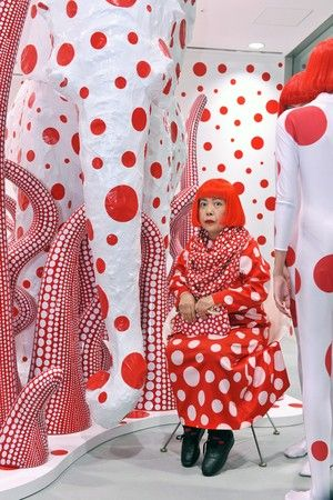 Yayoi Kusama - Throughout her career she has worked in a wide variety of media, including painting, collage, sculpture, performance art and environmental installations, most of which exhibit her thematic interest in psychedelic colors, repetition and pattern.