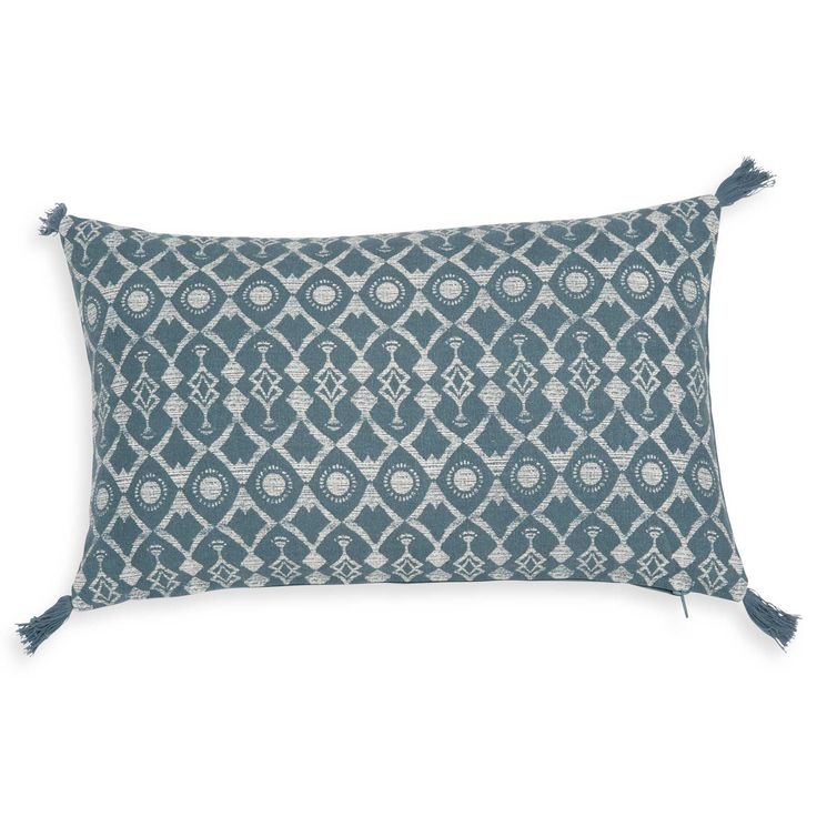 Housse de coussin en coton bleu canard 30x50cm GRUISSAN