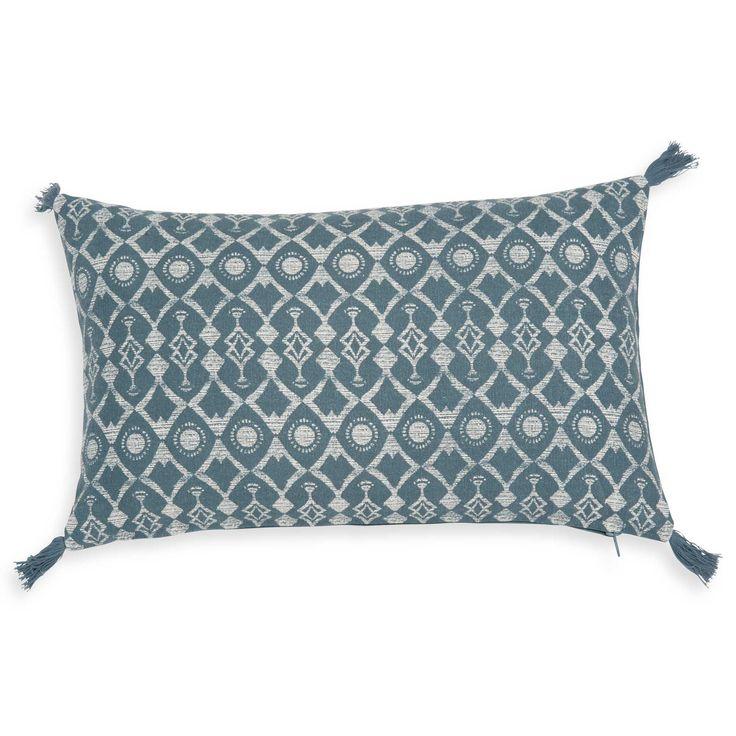 Blauwgroene, katoenen kussenhoes 30 x 50 cm GRUISSAN