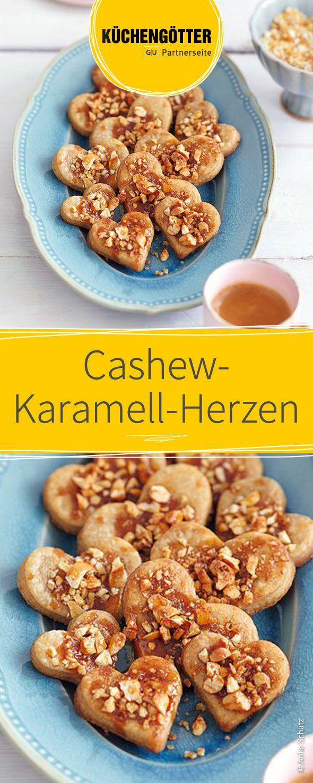 Rezepte für Plätzchen zu Weihnachten: Cashew-Karamell-Herzen