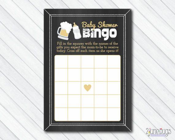 Baby is Brewing Baby Shower BINGO Game, Beer Baby Shower, Co-ed or Couples Baby Shower, Chalkboard - PRINTABLE INSTANT DOWNlOAD