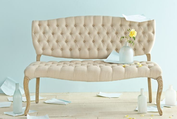 New Spring Collection featuring Cost Plus World Market's Linen Emma Settee  >> #WorldMarket Home Decor Ideas