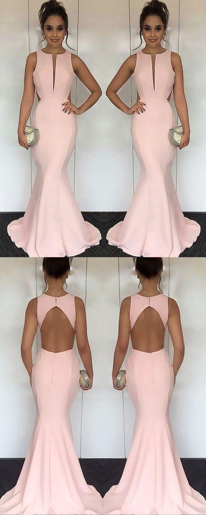Elegant satin jewel cutout pink mermaid long prom dress pm in