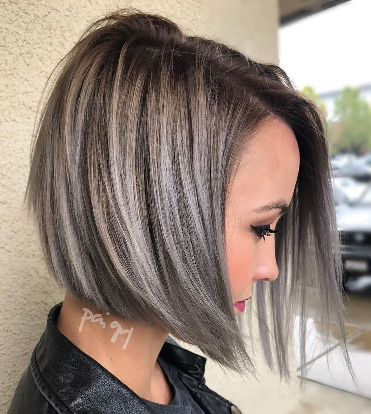Angle+Brown+Bob+With+Gray+Balayage