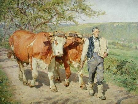Eugene Burnard   The Farmer - Eugène Burnand as art print or hand painted oil.