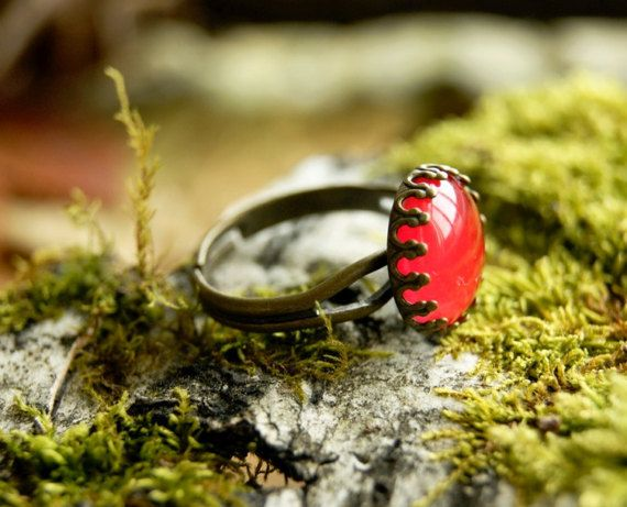 Red crown ring  Antique brass ring glass dome by InviolaJewerly