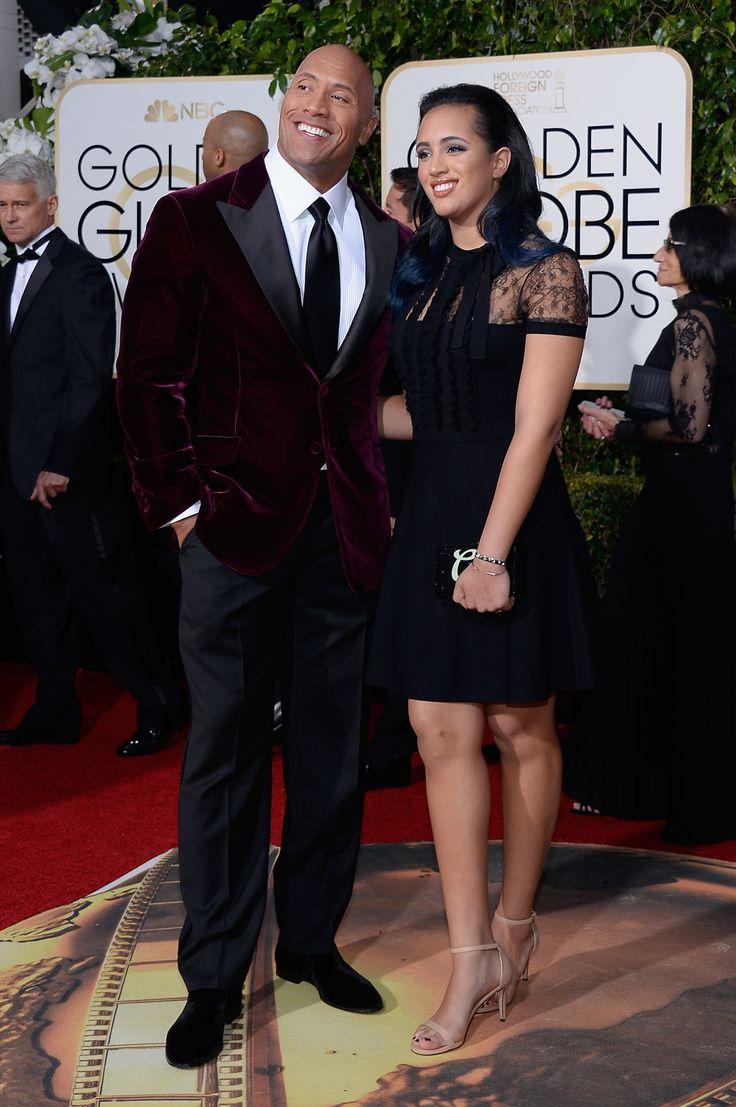 Dwayne Johnson, Simone Alexandra Johnson The Rock wears suit by Robert Mata
