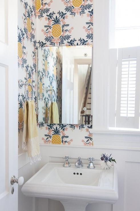 Best 25 pineapple wallpaper ideas on pinterest for Bright bathroom wallpaper