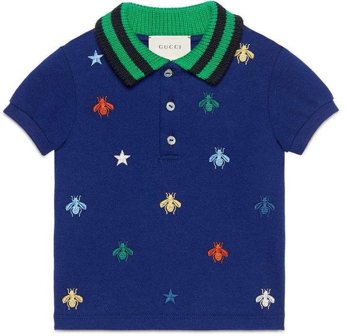 Baby polo with bees and stars embroidery  #ad