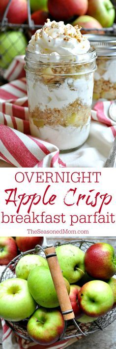 Layers of tender spiced apples, creamy Greek yogurt, and protein-packed quinoa come together in a healthy Overnight Apple Crisp Breakfast Parfait that tastes like a decadent dessert! @kitchenaidusa #ad #KitchenAidContest