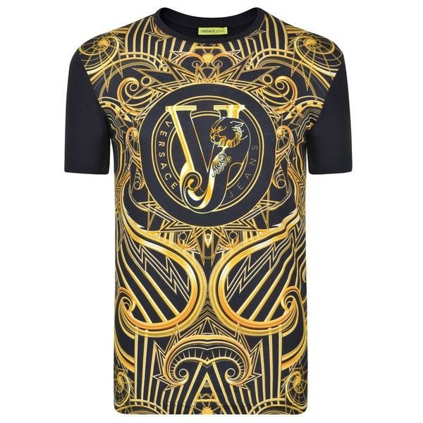 VERSACE JEANS Baroque Print T Shirt ($135) ❤ liked on Polyvore featuring tops, t-shirts, pattern t shirt, versace t shirt, cotton t shirts, crew neck tee and crewneck tee