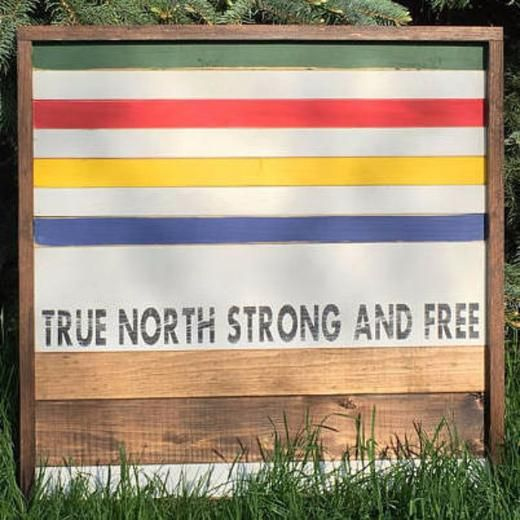 True North Strong and Free Wall Hanging - Hinterland Home  Handmade wooden Hudson's Bay sign for Canada 150