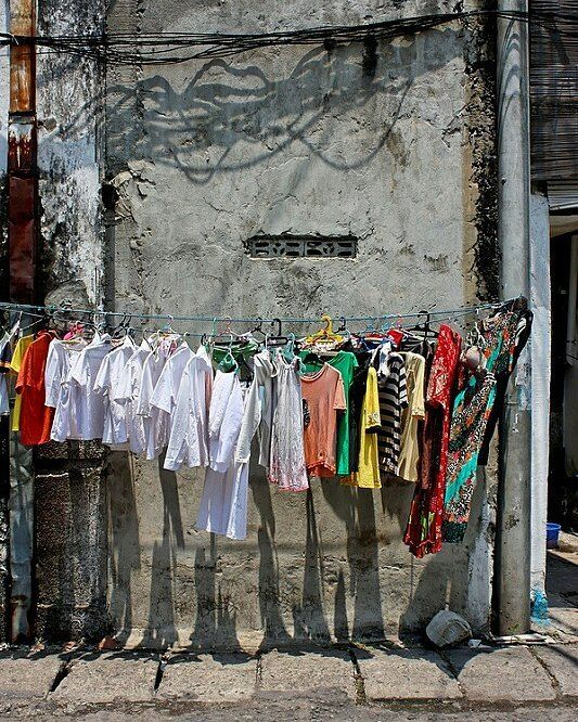 Hanging clothes. Surabaya Java Indonesia.
