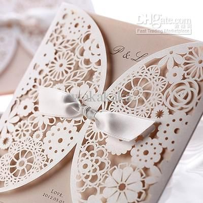 50pcs white flower cut out with ribbon Wedding Invitations Printable and Customizable Free Shipping wholesale hot-selling