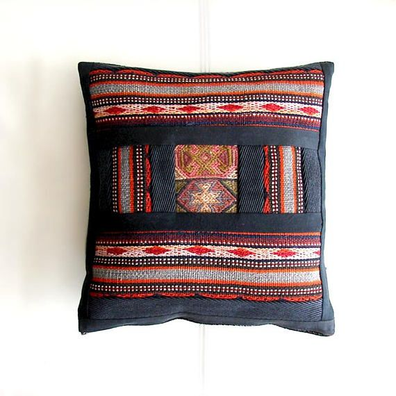 Throw Wool Patchwork Pillow, Antique Kilim Cushion, Bohemian living, Handmade Wool Seat-cushion, Decor Throw Pillow Cover (37x38 cm)