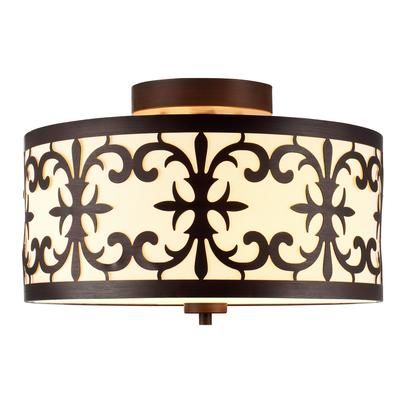 Home Decorators Collection - 2 Light Flush Mount Ceiling Light 13 Inch - Oil Rubbed Bronze with Beige Fabric Shade - 15469 - Home Depot Canada