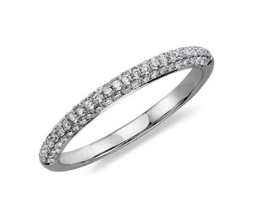 14ct White Gold Trio Micropavé Diamond Wedding Ring 0.37ct £1,330.00 This delicately crafted wedding ring features three rows of micropavé set diamonds for eye catching brilliance. Set in 14ct white gold. Total diamond weight 0.37ct. Comes with a luxury gift box and free postage and packaging.