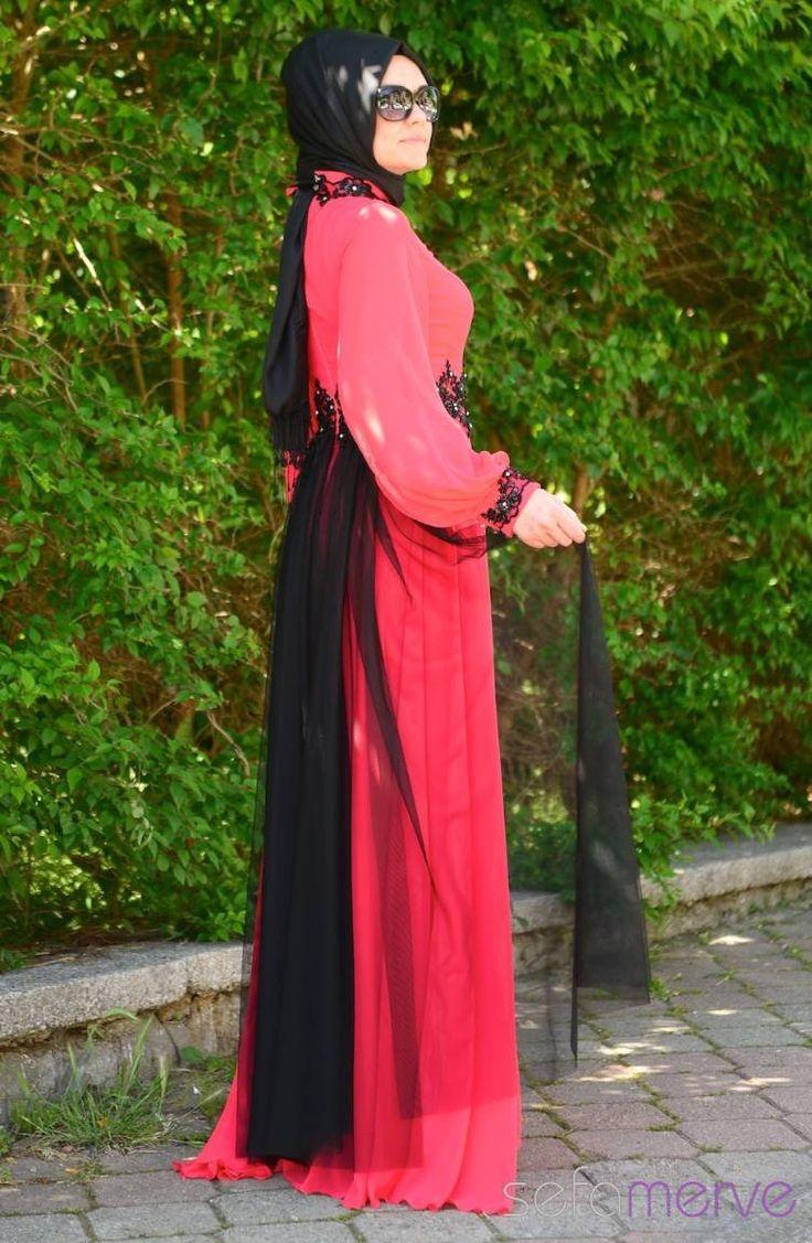 Sefamerve Tesettür Abiye Elbiseler PDY 4223-02 Nar Çiçeği