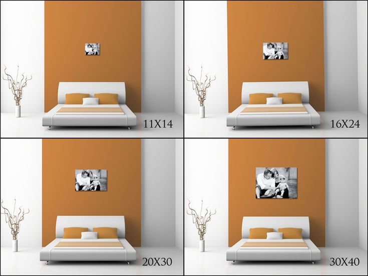 illustrates how an 11x14 16x24 20x30 and 30x40 would look over a king size bed by captured simplicity photo displays pinterest photographs