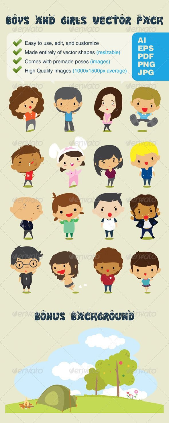 Boys & Girls Character Design Vector Pack #GraphicRiverThank you for purchasing stylish Boys & Girls vector pack. .......................................................................... This high quality vector pack includes 16 different Boys & Girls charactors, plus additional background. Created: 10June13 GraphicsFilesIncluded: AIIllustrator Layered: Yes MinimumAdobeCSVersion: CS Tags: avatar