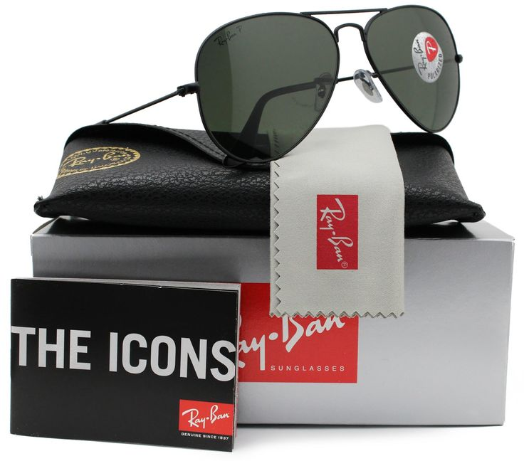 3e96f9acbe Ray-Ban RB3025 Aviator Sunglasses Shiny Black w Crystal Green (L2823) 3025