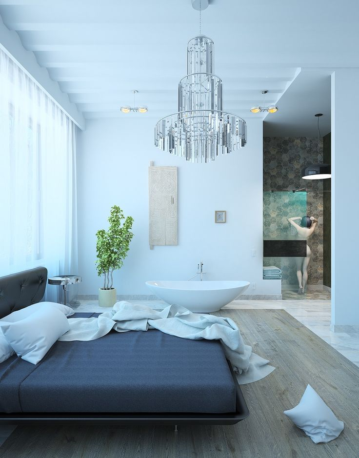 Luxurious Bedroom Design with Modern Chadelier 10