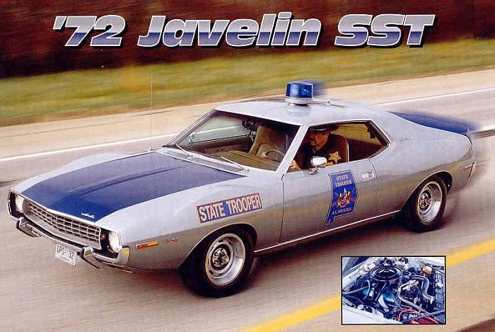 There were two of these AMX Javelin made for Alabama State Troopers in 1971-72 as test cars to see if lighter weight, more maneuverable cars were more beneficial than the big old police cars of the time. Yeah I guess a 401-V8, power steering & disc brakes might help.    The Javelin was the first pony car to be used as a police vehicle. After this there have been Mustang, Camaro, Chargers…