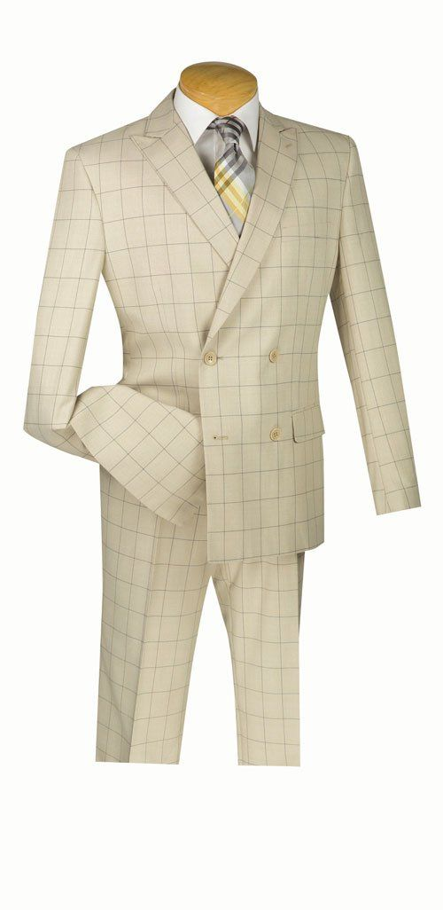 Duke of Windsor Collection - Double Breasted 4 Buttons 2 Pieces Slim Fit Suit Tan