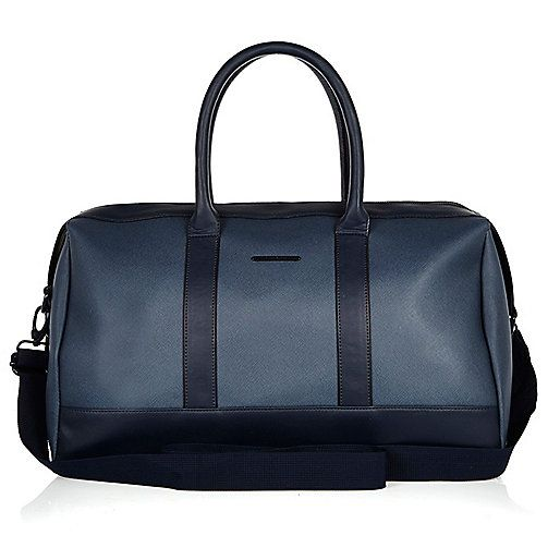 Navy textured holdall - bags - sale - men