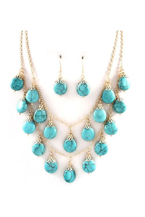 Set in Golden Layers, Turquoise Droplets suspended in Filigree. Earrings Included.  NECKLACE LENGTH: 18 inches + Extender NECKLACE CLOSURE: Lobster claw clasp