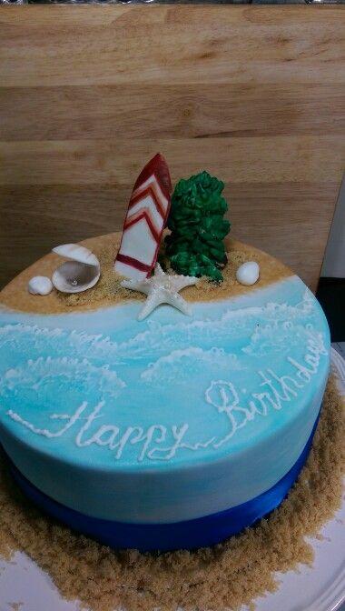 Beach surf themed cake