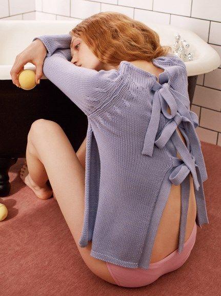 バックオープンシルク混セーター(ニット)|FURFUR(ファーファー)|ファッション通販|ウサギオンライン公式通販サイト
