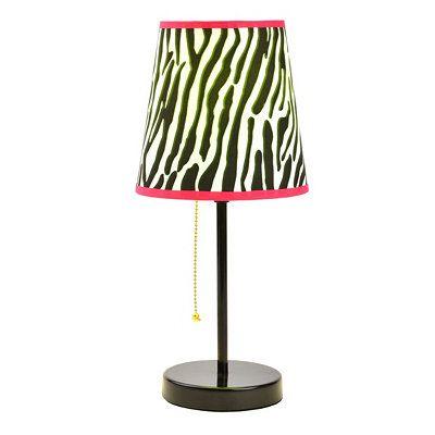 Neon Zebra Print Table Lamp