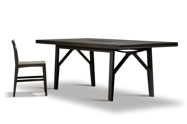CAMPO, fixed table made of ash wood, cm 230x97, with fork shaped legs. Design Franco Poli