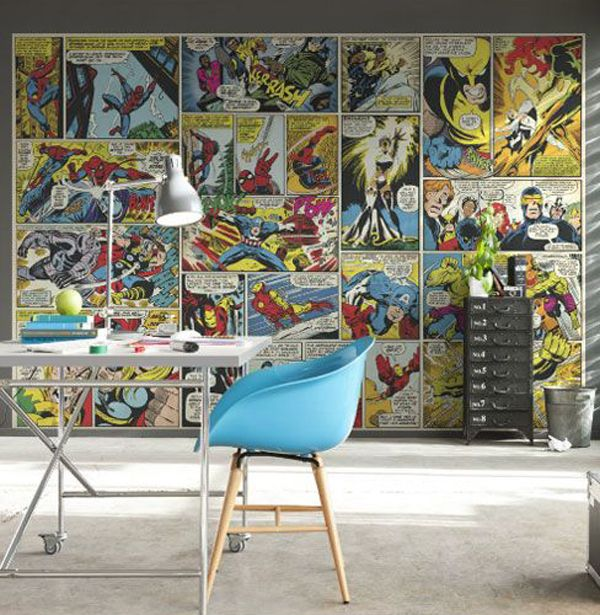 Marvel Comic Heroes Photo Wall Mural 368 X 254 Cm Love The Idea Of Books For Paper Just A Feature Then Hang 1 Large Coloured Page