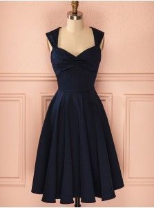 Simple Scoop Sleeveless Tea-Length Dark Navy Taffeta Homecoming Dress Ruched