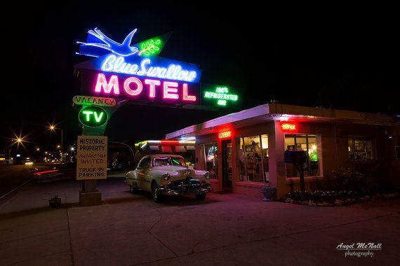 Route 66 - Ready to hang metal print - Blue Swallow Motel in New Mexico - angelmcnall.etsy.com