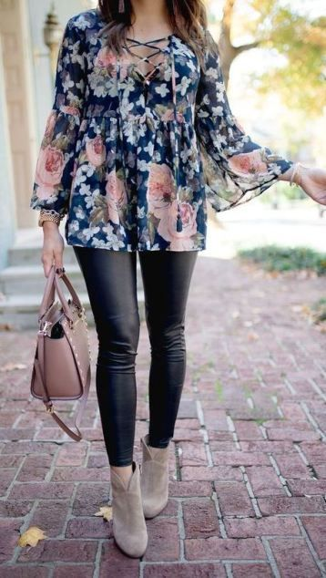 6545325ee08 This is a springy, feminine approach to black leggings. A long floral shirt  adds in some color, with cute beige ankle booties. It's great for spring  days, ...