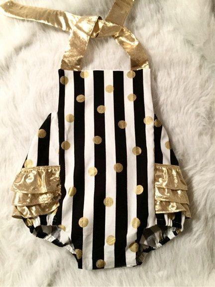 Black and white striped and metallic gold romper for first birthdays by EverAfterFairytales