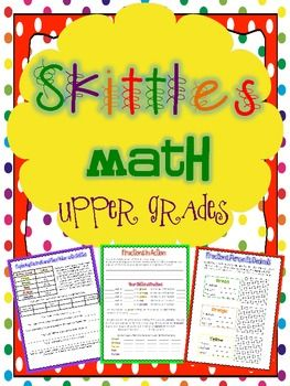 Skittles Math Printables for the Upper Grades *17 Pages of Activities!* Reviews: Decimals, Word Problems, Numbers and Operations, Fractions, Percents, Graphing, Arrays, Coordinate Plane Graphing, Measurement, Area & Perimeter, Mean, Median, Mode, and Range. $