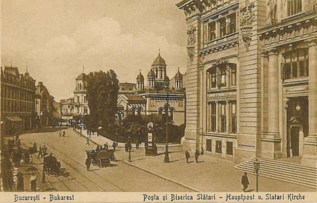 1920 - Calea Victoriei cu Hotel de France, Magazinul Victoria (Galeriile Lafayette),  Palatul Societăţii Dacia, Biserica Zlătari