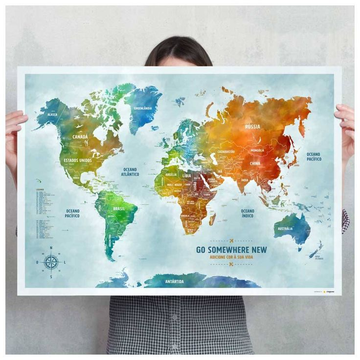 Pôster Mapa-múndi colorido com 220 pins-adesivos em duas cores para marcar viagens.  84,1x59,4cm